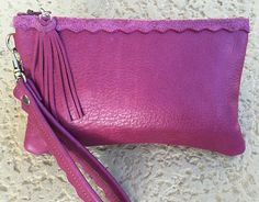 Italian Leather Wristlet in Orchid Pink