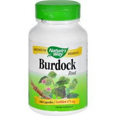 Natures Way Burdock Root - 100 Capsules - Natures Way Burdock Root Description:  Burdock Root is a traditional herbal commonly used in combination with Red Clover Yellow Dock and Dandelion.   Disclaimer These statements have not been evaluated by the FDA. These products are not intended to diagnose treat cure or prevent any disease.