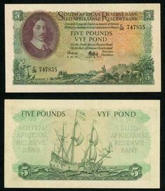Currency 1954 South African Reserve Bank Five Pounds Banknote Van Riebeeck P# 96 My Roots, World Coins, My Childhood Memories, African History, Money Matters, Pottery Art, South Africa, Vintage World Maps, Nostalgia