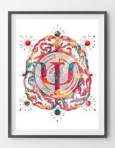 Psychology Art Print Psi Psyche Symbol Watercolor Brain & Psychology Poster Psychiatry Psychotherapy Clinic Wall Art Gift