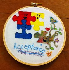 Autism Acceptance embroidery
