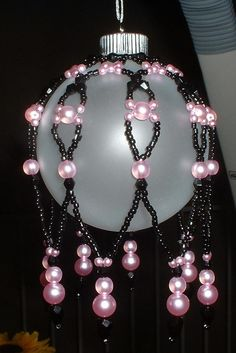 Beaded Pink & Black Ornament Cover black crystals by Luvzhorses