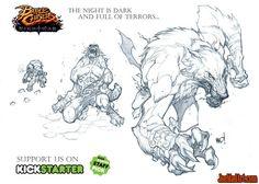 Battle Chasers Nightwar game creature concept art: Werewolf - Joe Madureira…