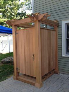 red cedar outdoor shower by JKShea Construction