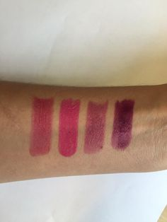 From L to R, swatches of: Jump, Neon Angel, Around The World & Ink Pot — by Content beauty on Twitter #ILIAbeauty #ILIAretailer #lipstick #pink #purple