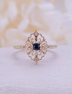 Art Deco Engagement Ring Vintage Sapphire Engagement Ring Rose G .- Art-Deco-Verlobungsring Vintage Saphir-Verlobungsring Rose Gold Floral Un … … Art Deco Engagement Ring Vintage Sapphire Engagement Ring Rose Gold Floral Un … …, ring - Engagement Ring Rose Gold, Diamond Wedding Rings, Wedding Bands, Wedding Art, Solitaire Engagement, Solitaire Diamond, Wedding Unique, Wedding Jewelry, Trendy Wedding
