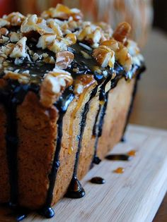 pumpkin bread cheesecake with chocolate, carmel, and nuts