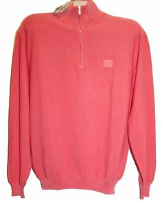 Paul & Shark Yachting AUTHENTIC Pink Cotton Men's Italian Shirt Sweater Sz M #PaulSharkYachting #12Zip
