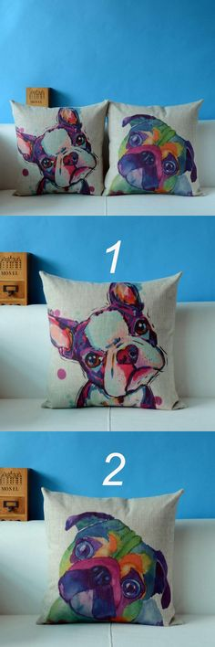 [Visit to Buy] Square Cotton Linen colourful bull terrier Painted french bulldog Printed cheap Cushion Cover For Home Sofa Pillow Case 3D #Advertisement