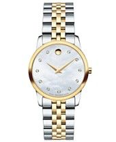 Movado Women's Swiss Museum Classic Diamond Accent Two-Tone Stainless Steel Bracelet Watch 28mm 0606613