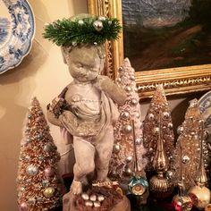 Christmas Statuary with Bottle Brush Trees Christmas Vignette, Bottle Brush Trees, Vignettes, Vintage Christmas, Statue, Ornaments, Decor, Art, Art Background