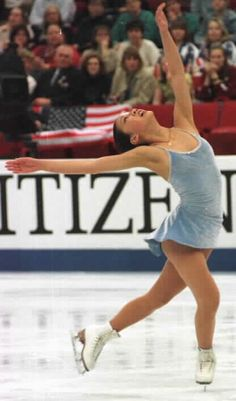 Michelle Kwan. I was IN LOVE with her when I was a kid! I cried when I missed her long program at the '98 Olympics.