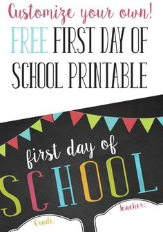 Can you believe the first day of school will be here soon? Preserve the memories with pictures of the kids holding a printable first day of school sign with their grade and teacher's name. Grab this customizable free first day of school printable for your little learners heading back to school.