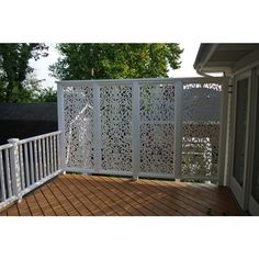 Acurio Latticeworks Ginger Dove 32 in. x 4 ft. White Vinyl Decorative Screen Panel - - The Home Depot Fachada Colonial, Decorative Screen Panels, Privacy Screen Outdoor, Decks With Privacy Walls, Outdoor Privacy Screen Panels, Vinyl Decor, Deck Railings, Railing Ideas, Deck Stairs