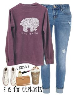 """E is for Elephants"" by kaley-ii ❤ liked on Polyvore featuring River Island, Converse, Kate Spade, Tory Burch and NARS Cosmetics"