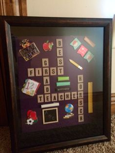 Teacher Christmas gift. Scrabble shadow box.