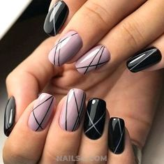 Nail art is a very popular trend these days and every woman you meet seems to have beautiful nails. It used to be that women would just go get a manicure or pedicure to get their nails trimmed and shaped with just a few coats of plain nail polish. Line Nail Designs, Best Nail Art Designs, Simple Nail Designs, Designs On Nails, Striped Nail Designs, Dark Nail Designs, Latest Nail Designs, Creative Nail Designs, Creative Nails