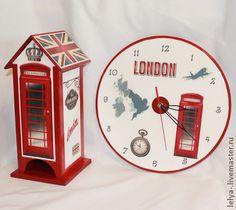 Часы настенные Лондон - ярко-красный,лондон,лондонский стиль,английский стиль
