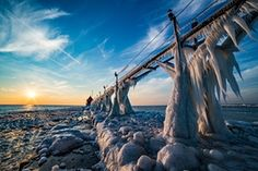 Grand Haven pier in St Joseph covered in icicles
