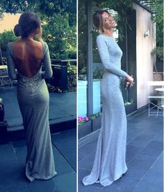 2017 Charming Silver Grey Prom Dress,Long Sleeves Evening Dress,Sexy Open Back Party Dress,Floor Length Party Dress - Thumbnail 1