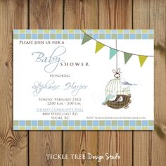 PRINTABLE Baby Shower Invitation - The Birds Nest - PERSONALIZED (Style 13188)