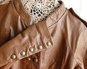 Sargent Pepper's Lonely Hearts Club Band 1960s Retro Style Leather Jacket,, Boho, Size 12, Caramel Brown, Double-Breasted, 5-Button Sleeves