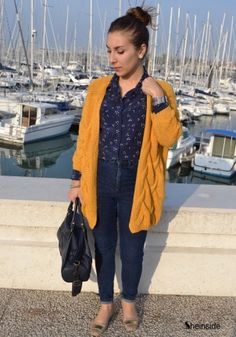 Yellow Long Sleeve Cable Knit Cardigan Sweater - Sheinside.com