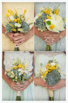 yellow, white and succulent bouquets.