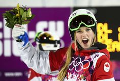Canada's Justine Dufour-Lapointe celebrates victory after the women's freestyle skiing moguls final competition. Jennifer Jones, Winter Olympics 2014, Freestyle Skiing, Canada, Olympic Games, Victorious, Competition, Athlete, Russia