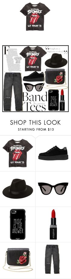 """""""#bandtees"""" by edithhlatshwayo on Polyvore featuring Lack of Color, Casetify, Smashbox, Charlotte Russe and Hollister Co. Suede Sneakers, Band Tees, Red Lips, Rolling Stones, Boyfriend Jeans, Casetify, Charlotte Russe, Hollister, Polyvore"""