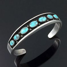 OLD NAVAJO CAST STERLING SILVER & HIGH GRADE TURQUOISE CUFF BRACELET