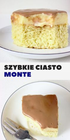 Szybkie ciasto Monte z budyniem i czekoladą Very easy and quick Monte dough with pudding and chocolate. A moist and light cake ideal for coffee Light Cakes, Banoffee Pie, Shortcrust Pastry, Pastry Art, Polish Recipes, Polish Food, Types Of Cakes, Vanilla Cake, Baked Goods