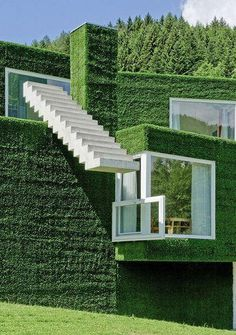 Surreal Lawn-House (Frohnleiten/ Austria)...wonder how they keep it neat?