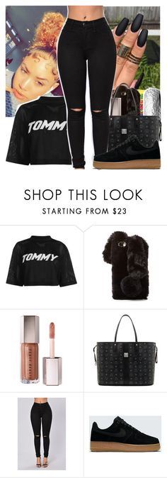 """walk all black"" by itzlonnie ❤ liked on Polyvore featuring Tommy Hilfiger, Ashlyn'd, Sephora Collection, MCM and NIKE"