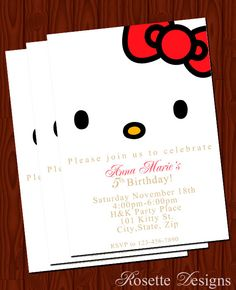 Hello Kitty - CUSTOM - birthday invitation