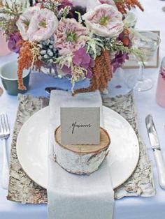 Create a tablescape inspired by nature with birch placemats and birch tree name cards.#rusticweddingdecor #countrywedding http://www.gactv.com/gac/photos/article/0,,GAC_42725_6075192.html?soc=pinterest
