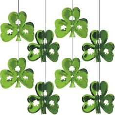 Mini Shamrock String Decorations are emerald green die-cut shamrocks that twirl wherever they hang. Mini Shamrock String Decorations add delicate clovers to your party. Halloween Costume Shop, Halloween Party Decor, Halloween Costumes For Kids, St Patrick's Day Decorations, Balloon Decorations Party, Hanging Decorations, Balloon Delivery, Kids Party Supplies, Party Stores