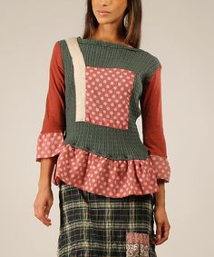 Loving this Green & Rust Ruffle Patchwork Top on #zulily! #zulilyfinds