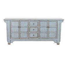 With ample storage and vintage-inspired hardware, the Laramie Buffet brings visual interest to a dining or entertaining room. Crafted of reclaimed pine and hand painted in River Blue, it boasts an antique appeal. Wood Buffet, Sideboard Cabinet, Buffet Tables, Sofa Tables, Wall Candle Holders, Cord Organization, Room Planner, Repurposed Wood