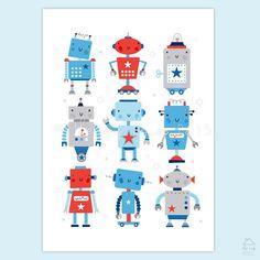 Rejig of colours for this old favourite. #robots #robot #robotprint #robotwallart #robotboysroom #robotillustration #theinkhouse #lizalpass #boysroom #wallart #illustration #boysnursery  #boysnurseryart