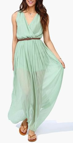 Mint Maxi Dress ღ I need one of these in black, fuchsia, emerald green and yellow, STAT!!