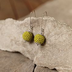 Dangle earrings, Beaded beads jewelry, Lime green seed bead jewellery, Sterling silver earrings, Long earrings, Green Seed Bead Earrings