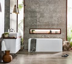 Create a sleek, modern bathroom with the distinct, geometric style of the Mondella Rococo collection. Bathroom Fixtures, Bathroom Lighting, Light Bathroom, Bathroom Inspo, Modern Bathroom, Bathroom Collections, Room Tiles, Beautiful Bathrooms, Rococo