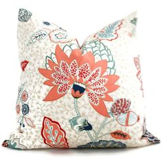 Tilton Fenwick Chilvers in Red Mint Decorative Pillow Cover Square, Eurosham or Lumbar Pillow Cover, Toss Pillow, Throw Pillow by PopOColor on Etsy https://www.etsy.com/listing/220015854/tilton-fenwick-chilvers-in-red-mint