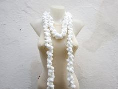 Hand crochet Long Scarf White Mulberry Scarf Pompom by nurlu Chunky Crochet Scarf, Pompom Scarf, Chunky Scarves, Crochet Scarves, Long Scarf, Winter Accessories, Hand Crochet, Womens Scarves