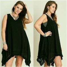Better than your average black dress! Adorable, sleeveless black dress perfect for the upcoming warm weather months! Perfect paired with sandals or wedges. Size XL fits 12/14 and size 1X fits size 14/16. UMGEE  Dresses Asymmetrical