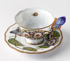 Anna Weatherley Butterfly Handle Triple Flower Cup & Saucer