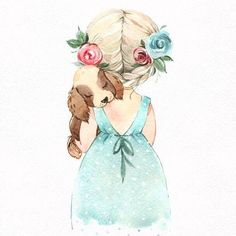 little girl & puppy illustration. Girly Drawings, Cute Animal Drawings, Art And Illustration, Baby Art, Cute Wallpapers, Cute Art, Watercolor Paintings, Sketches, Doodles