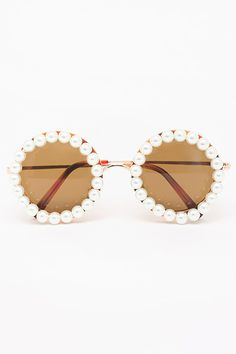 Round Rihanna Pearl Sunglasses - Brown - 5100-2