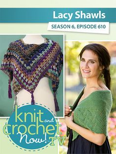 Jenny King demonstrates her beautiful crochet Blue Lagoon Shawl, perfect for many occasions. Caryl Pierre's knit Rhea Capelet is next with Kristin. Diy Crafts For Bedroom, Diy Crafts For Teen Girls, Diy Crafts For Gifts, Diy Crafts Videos, Knit And Crochet Now, Knit Crochet, Crochet Scarves, Crochet Shawl, Girl Sleepover